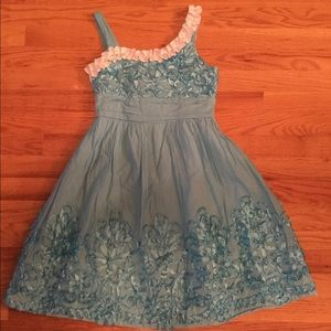 Rare Editions Teal Blue Ruffled Dress size 8-10